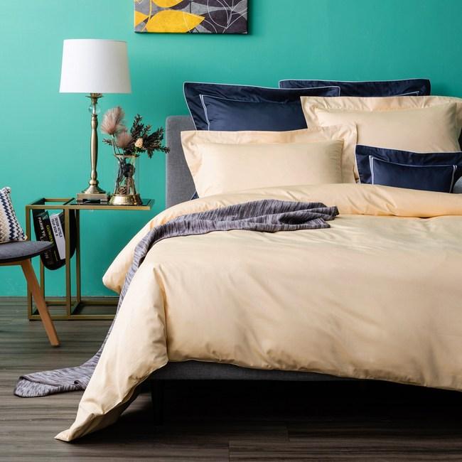 (組)托斯卡素色純棉床被組單人煙黃