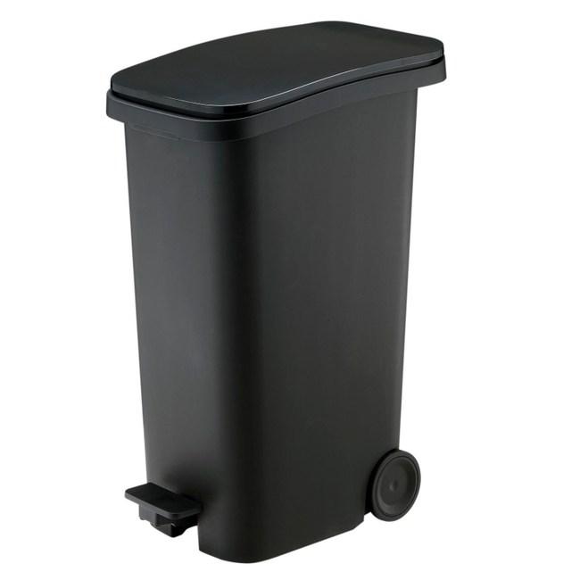 【日本 RISU】Smooth踩踏式緩衝靜音垃圾桶 31L-黑色