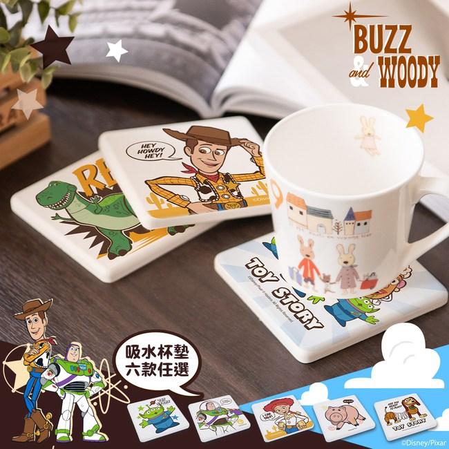 【收納王妃】玩具總動員4珪藻土吸水杯墊(2入一組)胡迪&寶貝