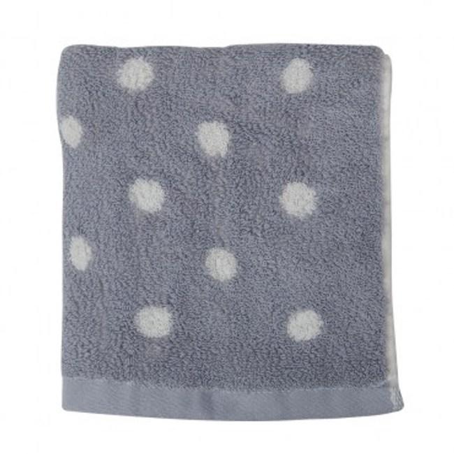 有機棉咖啡紗圓點方巾 灰色