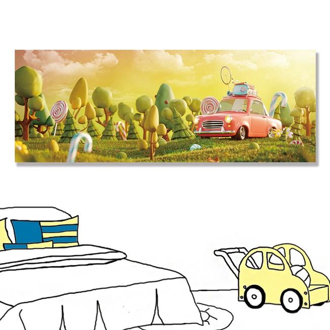 【24mama 掛畫】單聯式油畫布 無框畫 80x30cm-可愛小汽車油畫布無時鐘