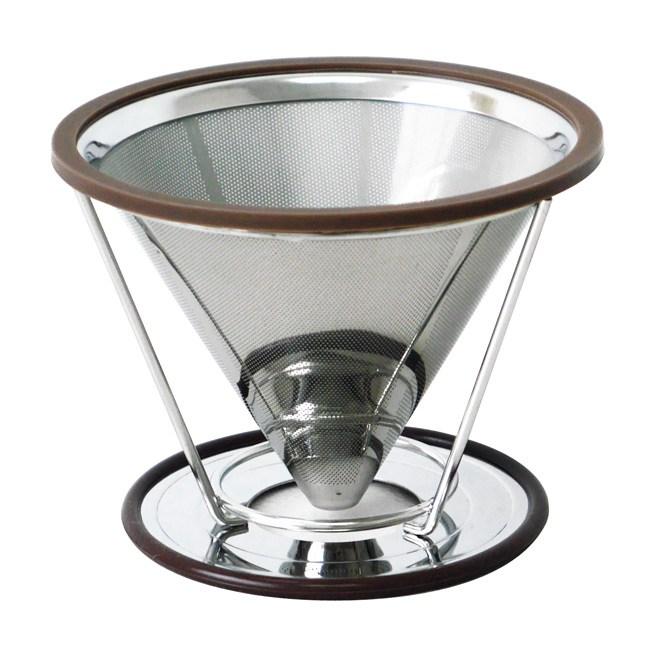 【日本寶馬】1~4杯錐型極細雙層不鏽鋼濾器(可分離式架座) HK-S-V02-D