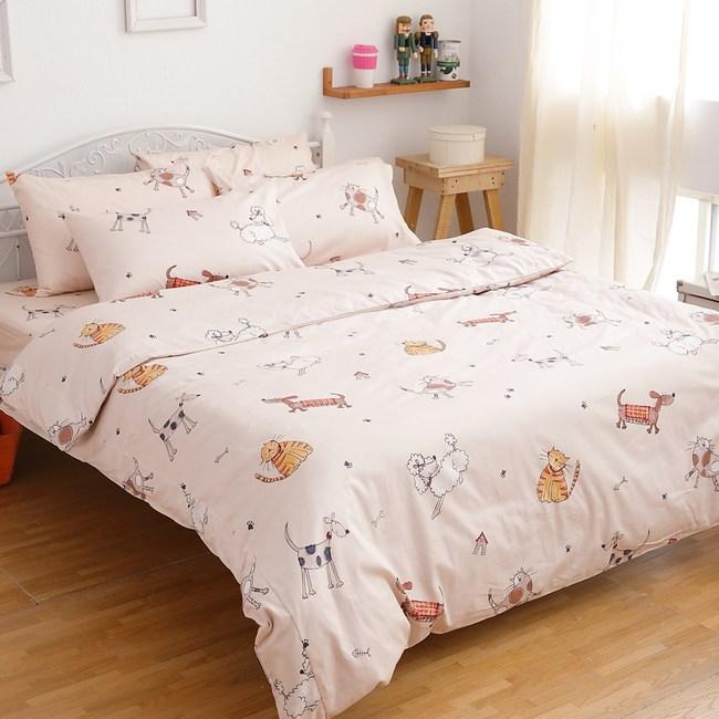 【eyah】台灣製205織紗精梳棉新式雙人兩用被-寵物家族