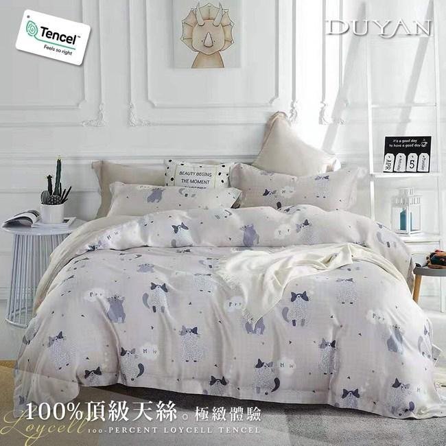《DUYAN 竹漾》100%天絲單人床包二件組-喵與暖歌 台灣製