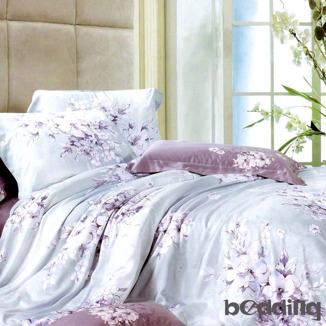 BEDDING-100%天絲植物花卉二件式枕套床包組-愛如潮水(單人)