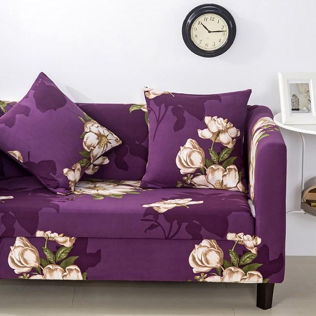 【挪威森林】紫色花園 舒適彈性沙發套單人座贈1抱枕套