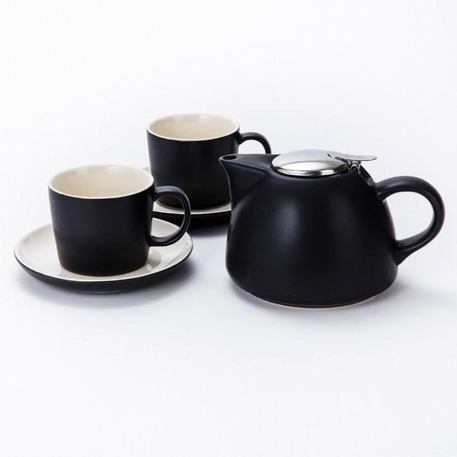 英國 La Cafetiere 簡約一壺二杯盤組 黑 Barcelona系列