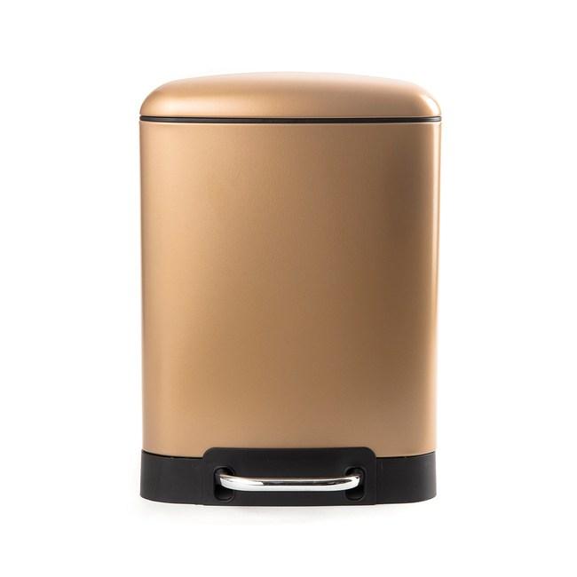 HOLA 格朗方形緩降踏式垃圾桶6L+12L棕金