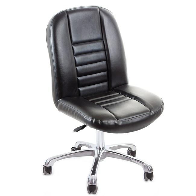 GXG 短背方條 皮面電腦椅 (鋁合金腳) TW-1024 LU