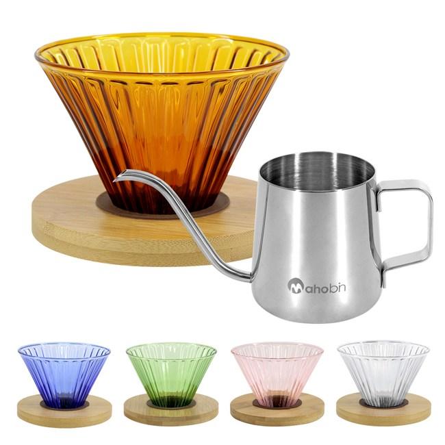 CoFeel 濾杯組手沖咖啡濾杯玻璃濾杯+不鏽鋼手沖咖啡細嘴壺