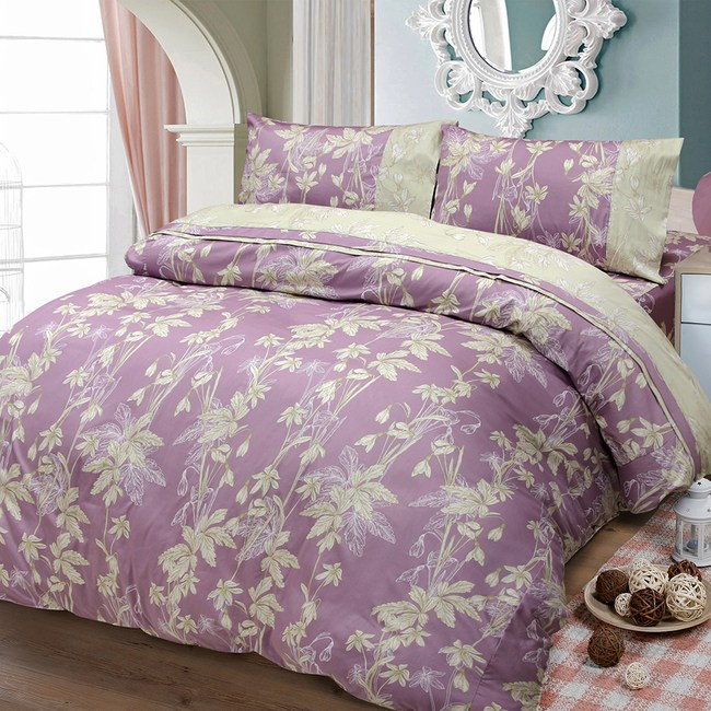 【FITNESS】精梳棉雙人加大四件式被套床包組--緲緲煙花(紫)6*6.2