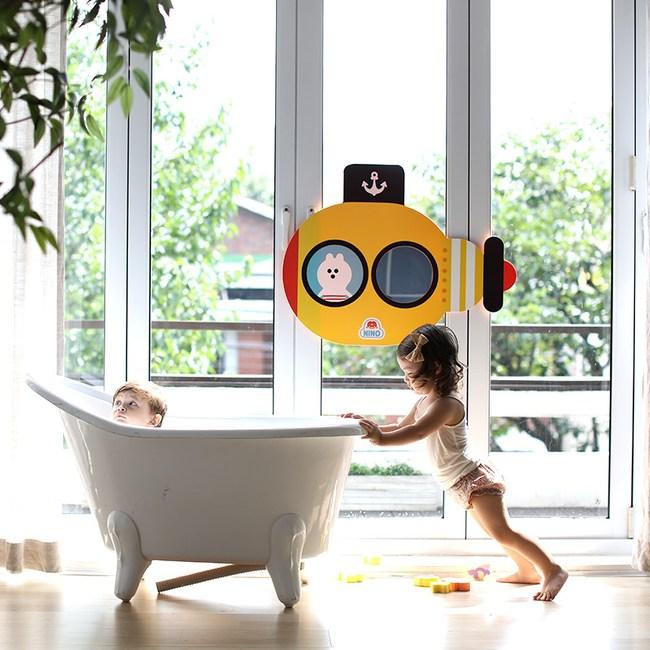 韓國品牌 NINO 兒童彩繪壁貼鏡 海底歷險記 黃色款