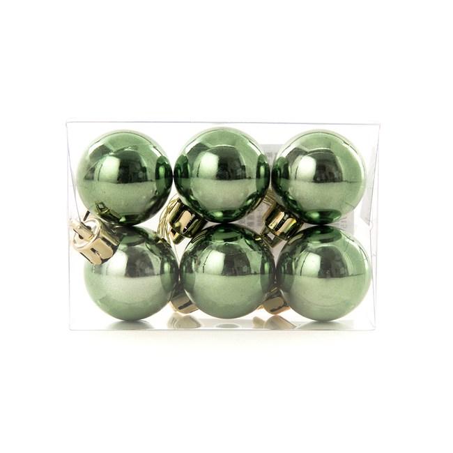 吊飾球6入組 亮面橄欖綠 3cm
