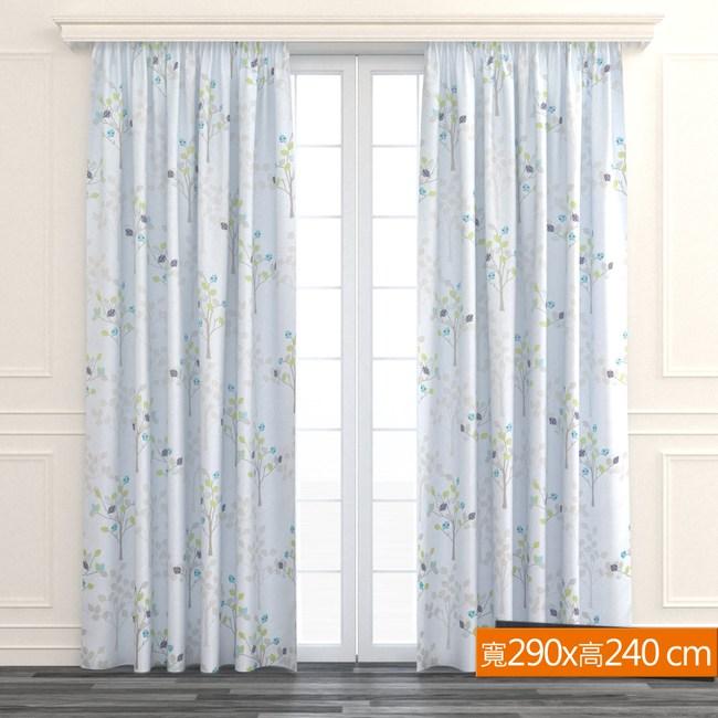 許願樹防蹣抗菌遮光窗簾 寬290x高240cm 灰色