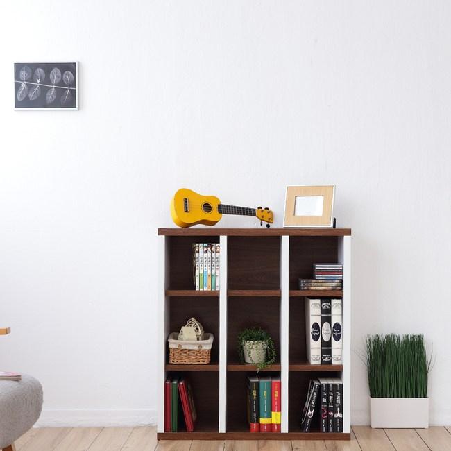 《Accessco》日系雙色九格厚板收納書櫃(胡桃白)