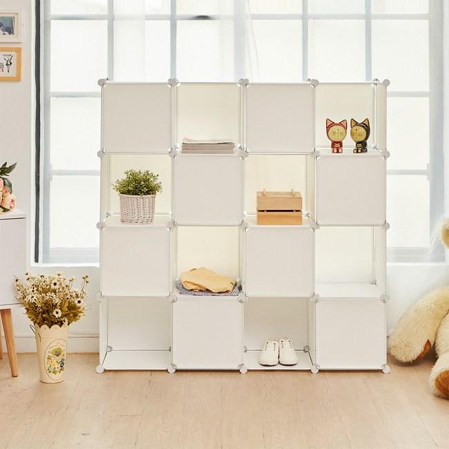 【H&R安室家】16格16門收納櫃-12吋百變組合櫃法國白