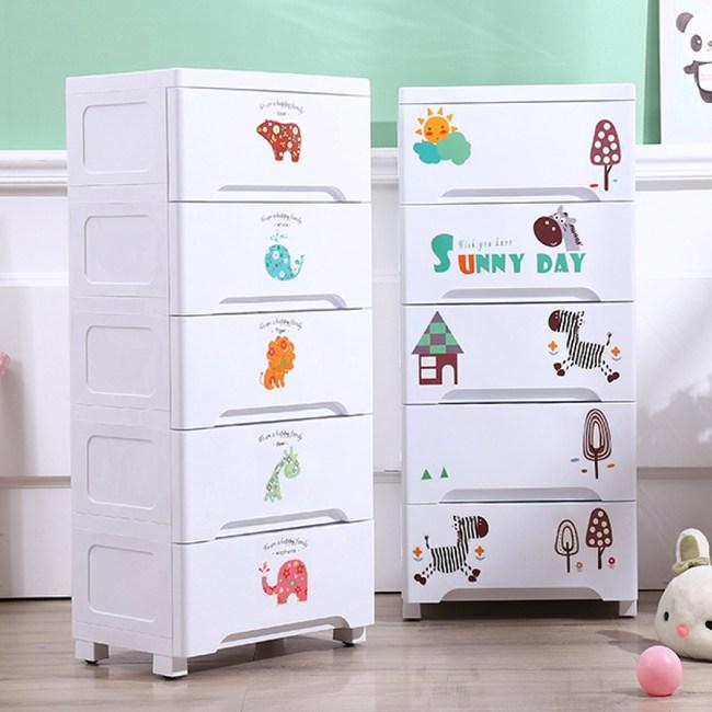【IDEA】42面寬五層DIY卡通貼紙收納櫃動物