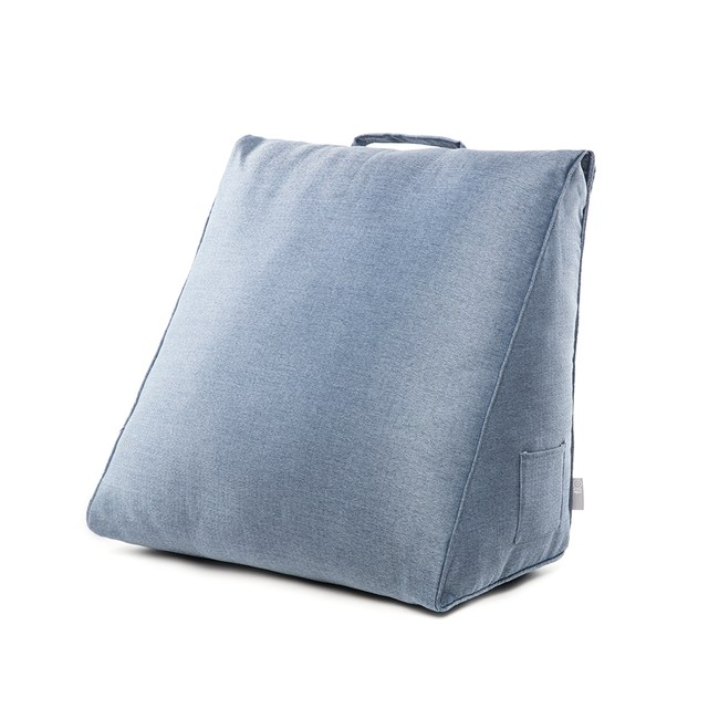 HOLA 素色織紋三角大靠墊57x50x30cm靛藍色