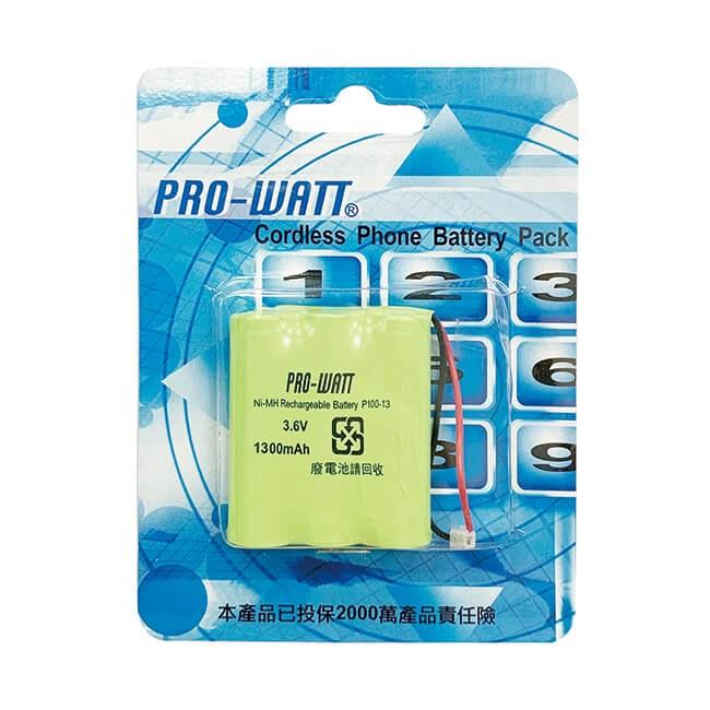 PRO-WATT 萬用接頭 無線電話電池3.6V 1300mah(P100)