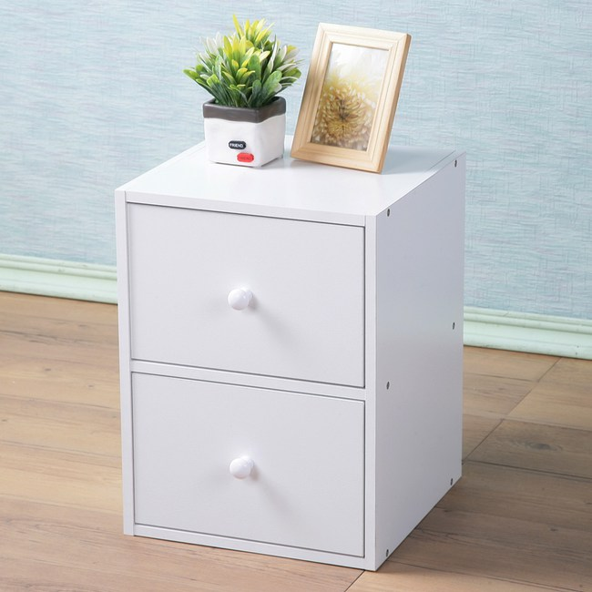 【Homelike】現代風二抽收納櫃(純白色)