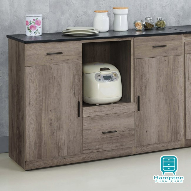 【Hampton 漢汀堡】赫瑟爾系列古橡木色4尺石面餐櫃