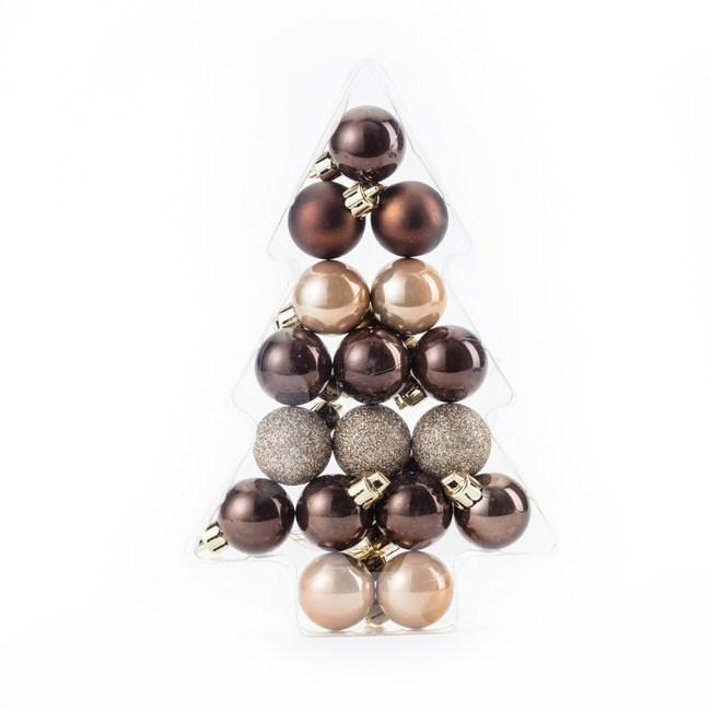 吊飾球17入組 咖啡/香檳金 3cm