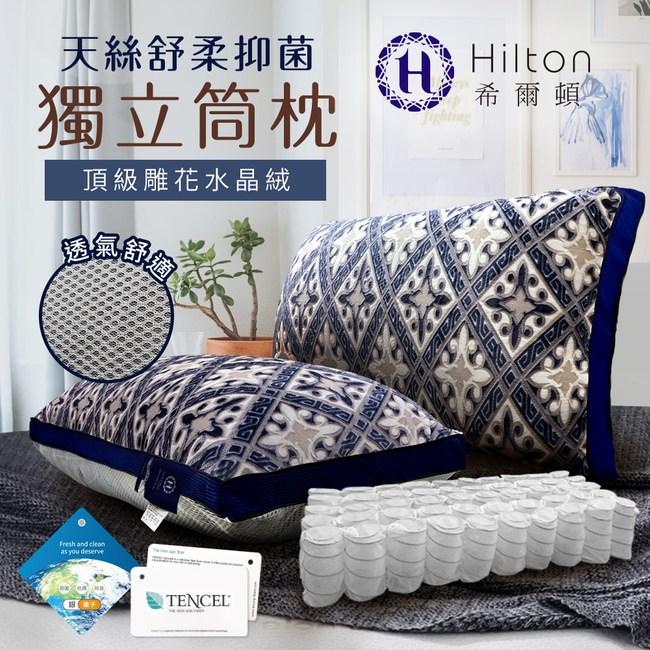 【Hilton 希爾頓】皇室宮廷銀離子手工雕花天絲獨立筒枕