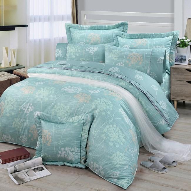 【FITNESS】精梳純棉雙人七件式床罩組-海蒂(綠)