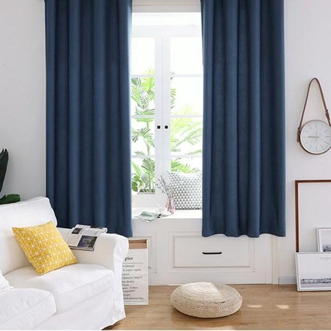 【三房兩廳】抗UV純素色系遮光窗簾(寬200x高160cm) 絲絨麻寶藍