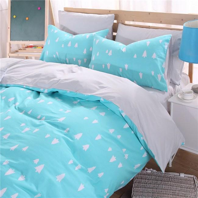 【挪威森林】100%精梳純棉四件式雙人床包被套組_手繪設計_森林物語