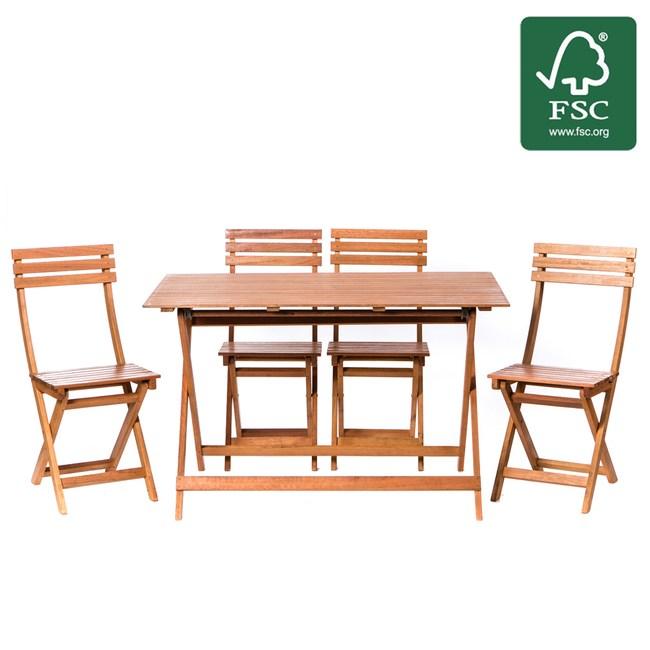 艾登實木摺疊一桌四椅組 FSC認證