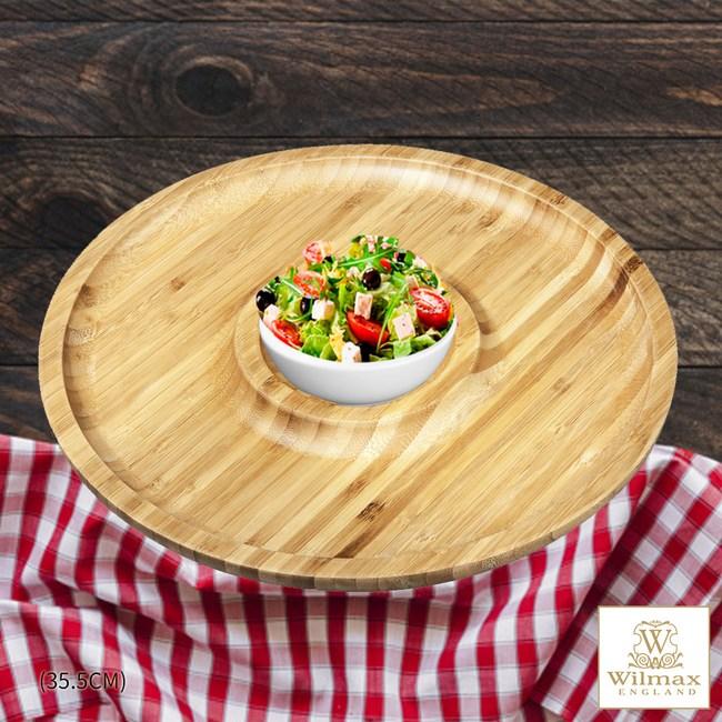 【英國 WILMAX】竹製圓形分隔餐盤/輕食盤附醬料碟組 35.5CM