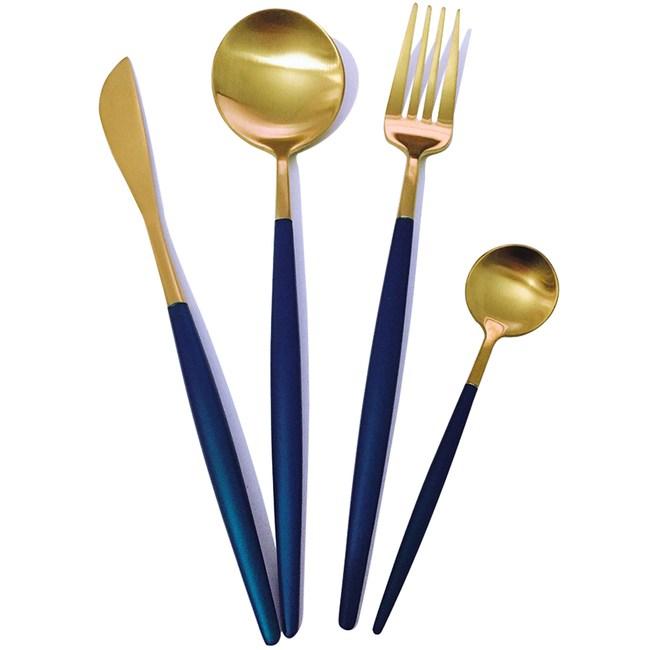 PUSH!餐具不鏽鋼藍金刀叉勺子4件套E109-3藍金色