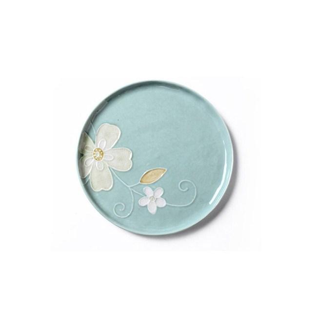 創意日式手繪餐具 8英吋平盤藍色