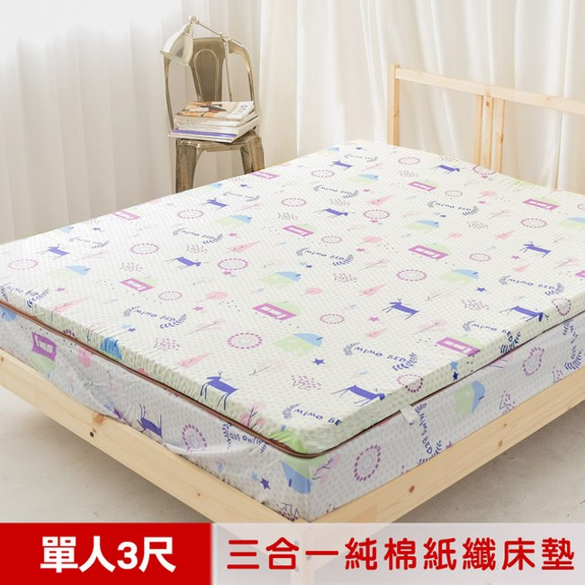 米夢 夢想家園-純棉+紙纖三合一高支撐記憶床墊(3尺-白日夢)