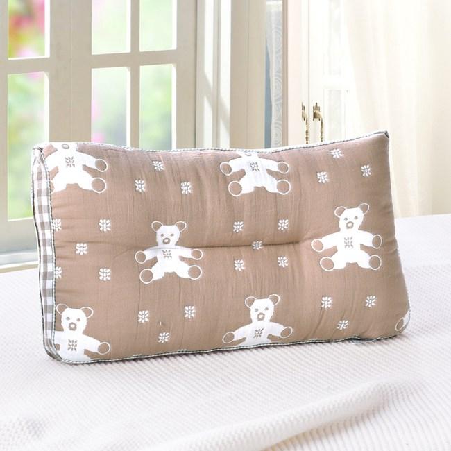 HOYACASA咖熊-超柔紗布可水洗兒童Q棉枕