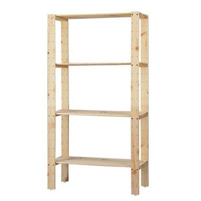 特力屋 松木可調整四層架 深32x寬74x高143cm