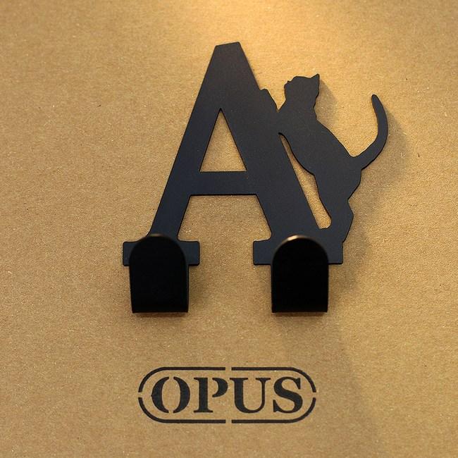 OPUS 歐式鐵藝壁飾掛勾/無痕掛鉤(當貓咪遇上字母A)黑