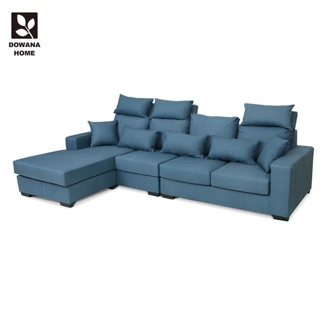 【多瓦娜】布隆迪貓抓皮L型沙發藍