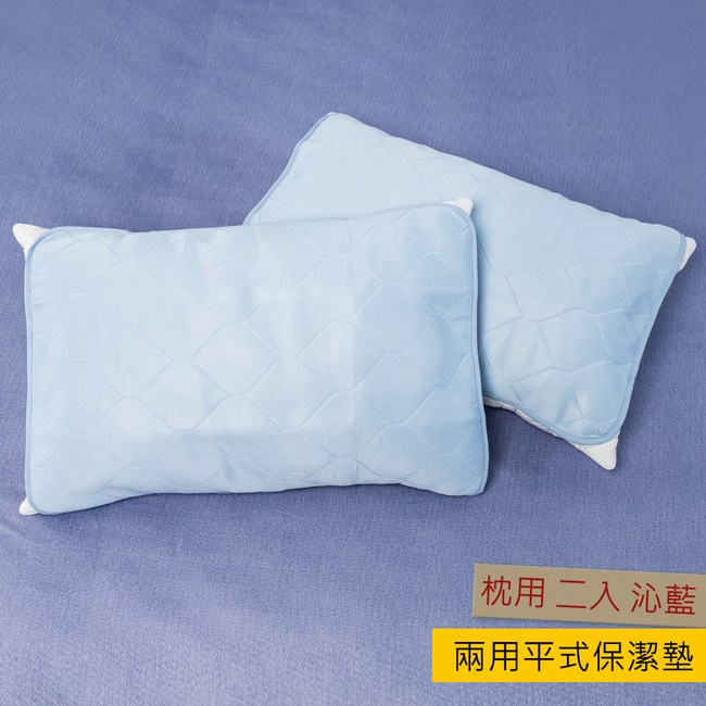 HOLA 超涼感兩用平式保潔墊 枕用 二入 沁藍