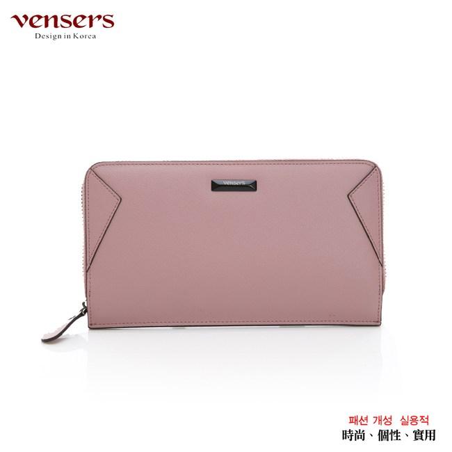 【vensers】小牛皮潮流個性皮夾(TA556102粉色長夾)