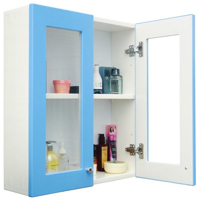 經典雙門防水塑鋼浴櫃/置物櫃-2色可選 1入藍色