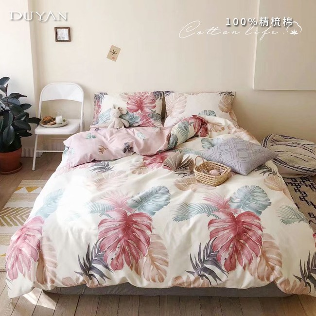 《DUYAN 竹漾》100%精梳棉加大四件式鋪棉兩用被床包組-晴光暖風