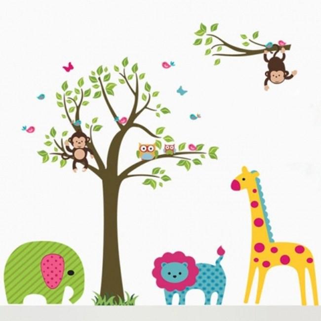 創意無痕壁貼 樹與動物 60x90cm