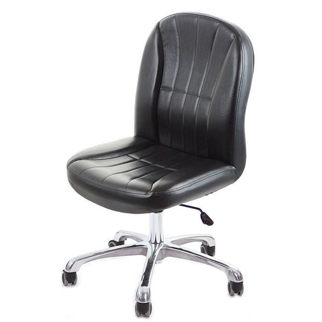 GXG 短背皮面無扶手電腦椅(可後躺/鋁合金腳)TW-1012 LUK