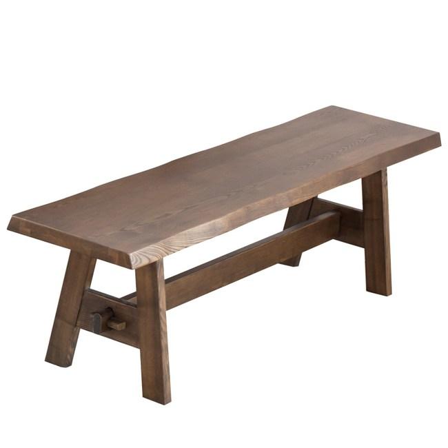 原木日式明治梣木實木1.5M長餐椅-胡桃色
