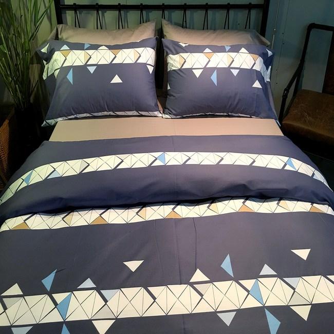 【挪威森林】100%精梳純棉四件式雙人加大床包被套組_手繪設計_阿基米