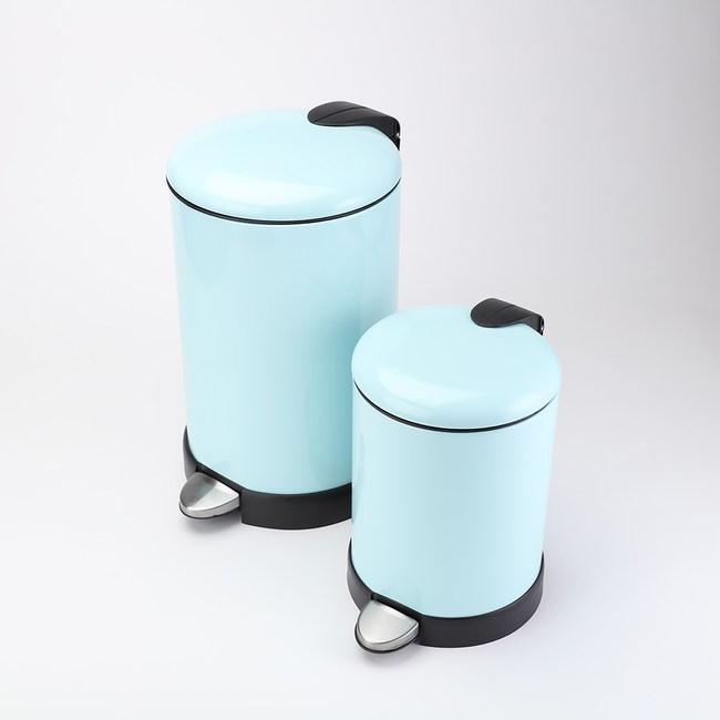 HOLA 緩降金屬垃圾桶組 綠色 5L+12L
