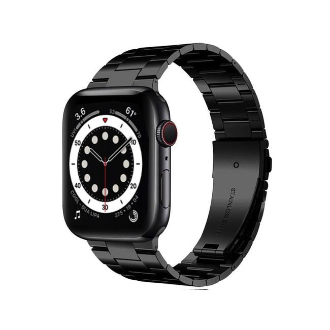 Apple Watch 6/SE 44mm不鏽鋼三珠蝶扣錶帶 沉穩黑