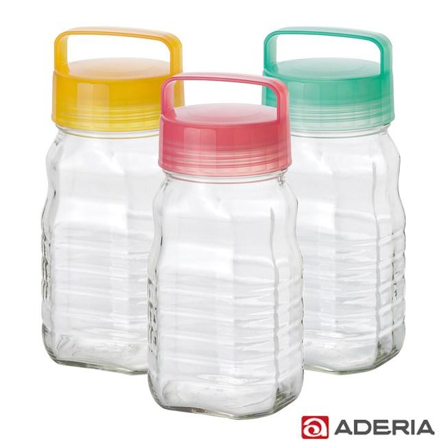 ADERIA 日本進口長型醃漬玻璃罐1.2L三件組
